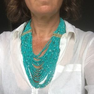 Necklace, turquoise beaded